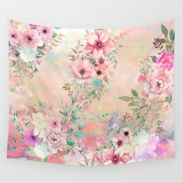 Botanical Fragrances in Blush Cloud Wall Tapestry