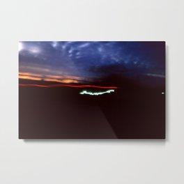Night Lights Blue Clouds, Tail and Street Light Metal Print