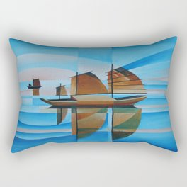 Soft Skies, Cerulean Seas and Cubist Junks Rectangular Pillow