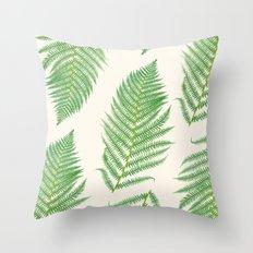 Fern on Cream III - Botanical Print Throw Pillow
