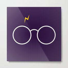 Harry Glasses - Potter Magic Purple Metal Print