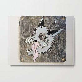 Sketchy wolf moon head Metal Print