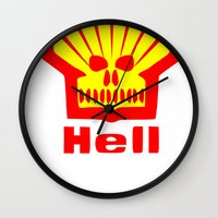 hell Wall Clocks featuring HELL by karmadesigner
