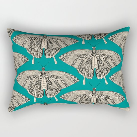 swallowtail butterfly teal black Rectangular Pillow