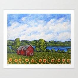 Liz's Sunflowers on Canandaigua Lake by Mike Kraus - art barn farm clouds sky new york ny upstate Art Print