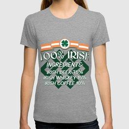 100% Irish Ingredients Beer Whiskey Coffee Gift T-shirt