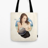 north carolina Tote Bags featuring Miss North Carolina by keith p. rein