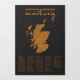 Distilleries of Scotland (woodpress) Canvas Print