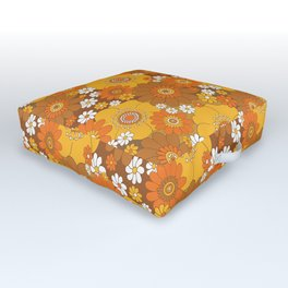 Pushing daisies Orange and brown Outdoor Floor Cushion