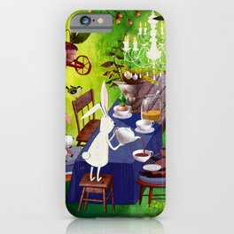 Bunny Tea Party in forest iPhone Case