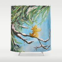 woodstock Shower Curtains featuring Winter Woodstock by artmonkeyworld