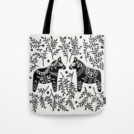 Swedish Dala Horses – Black Palette Tote Bag
