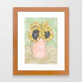 Fall Sunflower Bouquet in Pitcher Offset Framed Art Print