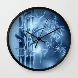 Bambuszweige - blau coloriert Wall Clock