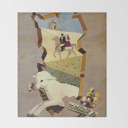 Visit Sardinia vintage Italian travel ad Throw Blanket