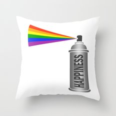 Happiness Spray Can - Rainbow Throw Pillow
