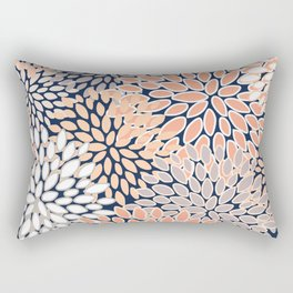 Floral Prints, Navy, Coral, Peach and Gray, Abstract Art, Coloured Prints Rectangular Pillow