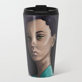 Young woman in green Travel Mug
