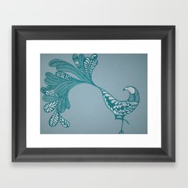 Blue and Silver Bird Framed Art Print