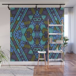 Ethnic ornament , blue , olive Wall Mural
