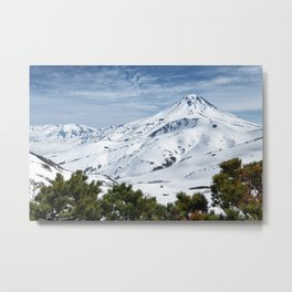 Winter mountainous landscape, snow-capped cone of volcano Metal Print