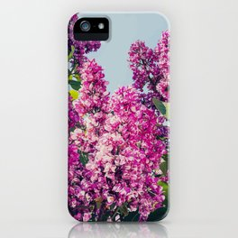 Digital Illustration of Purple Lilac Bush in Bloom with Flowers iPhone Case