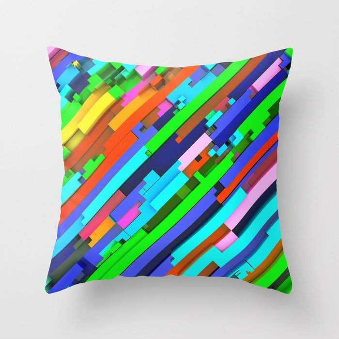 NeonGlitch 3.0 Throw Pillow