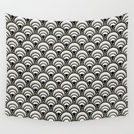 Monochrome and Gold Art Deco Scallops Wall Tapestry