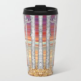 nuthatches and fox in the birch forest Travel Mug