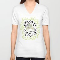 leopard V-neck T-shirts featuring Leopard by Ornaart