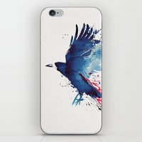 crow iPhone & iPod Skins featuring Bloody Crow by Robert Farkas