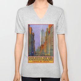 New York, vintage poster Unisex V-Neck