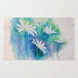 Spring watercolor daisies painting Rug
