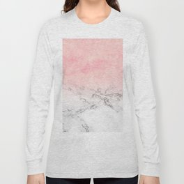 Modern blush pink watercolor ombre white marble Long Sleeve T-shirt