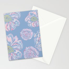 Abstract Flowers Blue #society6 #buyart Stationery Cards