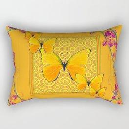 Golden Butterflies Pattern Purple-Pink Orchids Gold Art Rectangular Pillow