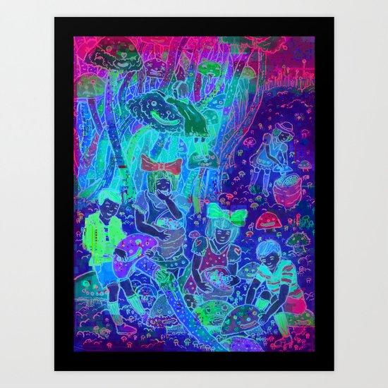 Pink Cloudy Mushroom Art Print