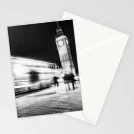 Bus passing Westminster B&W Stationery Cards