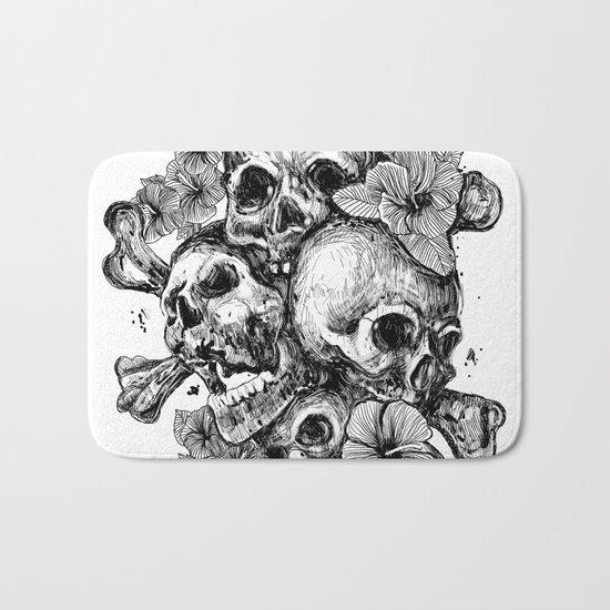 skulls&hibiscus Bath Mat