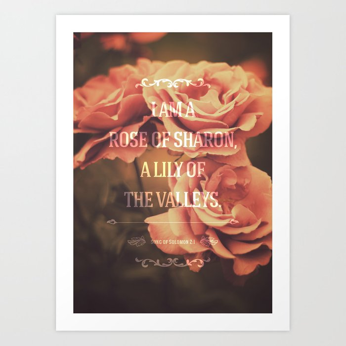 Typography Motivational Christian Bible Verses Poster - Song of Solomon 2:1 Art Print