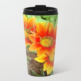 Three Bright Colored Gazania Flowers and Garden Travel Mug