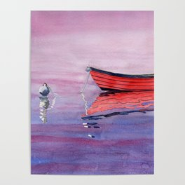 Red Dory Reflections Poster