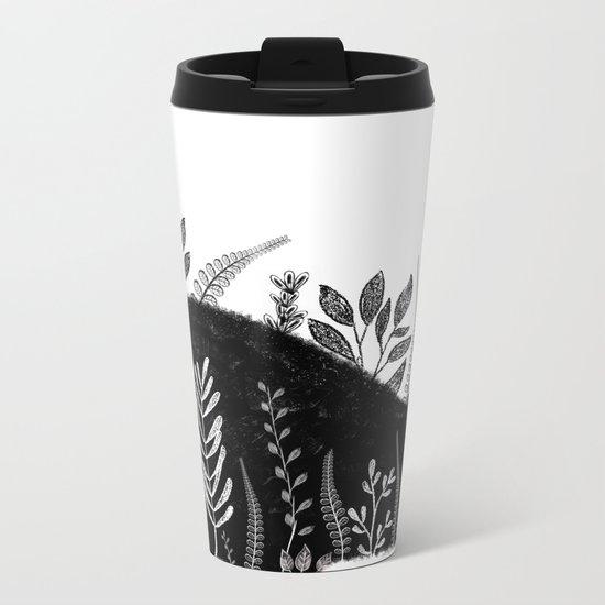 Garden Cat Black And White Metal Travel Mug