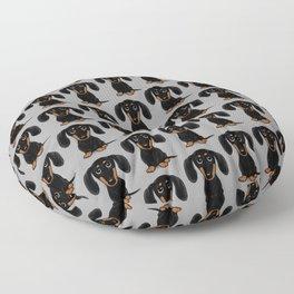 Black and Tan Dachshund | Cute Cartoon Wiener Dog Floor Pillow