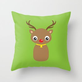 Red Nosed Reindeer Throw Pillow