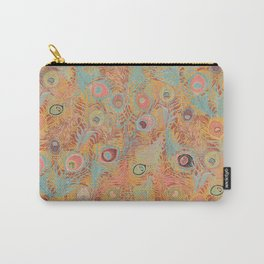 Peacock Feathers in Soft Coral Carry-All Pouch