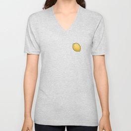 Whole Yellow Lemons on Black Unisex V-Neck