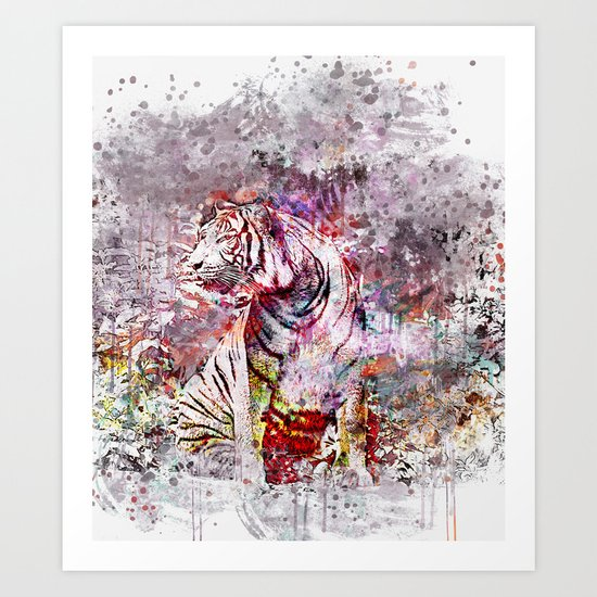 Tiger Watercolor Painted Art Art Print