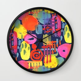 Bright Pink and Orange Abstract Wall Clock
