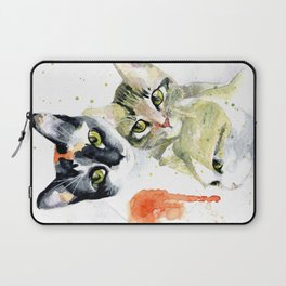 Three Cats, Watercolor Painting Laptop Sleeve
